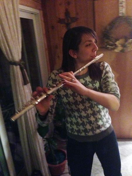 Playing along to Christmas songs.