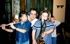 Denim. Butterfly clips. And my flute. Welcome to the new millennium. That's my dad, thinking he's funny, and my cousins Kelly (saxaphone) and Kevin (bunny ears).