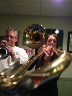 band night. no, i don't know how to play the trombone. i might be holding it backwards.