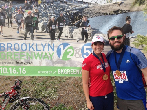 five weeks out from marathon day: me & mw after the brooklyn greenway half marathon