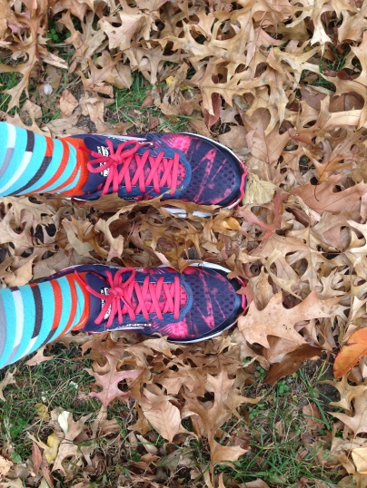 I wish my shoes weren't pink but fall leaves are cool.