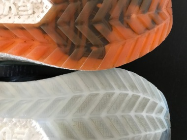 100-mile shoes side-by-side with 5-mile shoes
